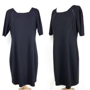 Elie Tahari Shift Dress Raw hem Silk trim Size 12